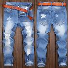 Fashion Men's Ripped Skinny Biker Jeans Destroyed Frayed Slim Fit Denim Pants US