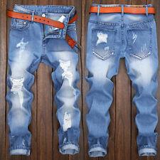 Men Stylish Ripped Jeans Pants Biker Skinny Slim Straight Denim Trousers