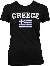 Distressed Greece Soccer Flag - Greek Nationality Pride Juniors T-shirt