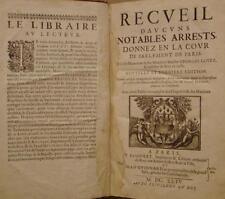 LOVET Georges - RECUEIL D'AUCUNS NOTABLES ARRETS DONNEZ EN LA COUR - 1644