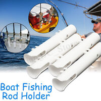 4Pcs/set White Plastic 12'' Boat Fishing Rod Holder Boat Marine Tube Rod Holder