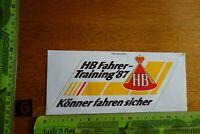 Alter Aufkleber Auto Motorrad Rallye Zigaretten HB FAHRER TRAINING 1987