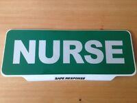 NURSE with Reflective Silver Text univisor Sign visor