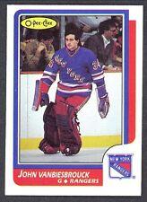 1986 87 OPC O PEE CHEE #9 JOHN VANBIESBROUCK RC NM N Y RANGERS HOCKEY Card