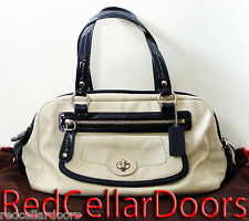 Auth New COACH BONNIE Leather Satchel Dual Zipper Handbag Parchment & Navy 13382