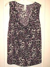 Lovely Leopard Animal Stretchy Slinky Top/Shell Cowl Neck Purple 1X 2X 3X New