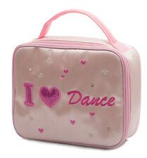 Filles Rose Satin École Ballet I Love Danse Chaussure Lunch Boite Main Sac Par