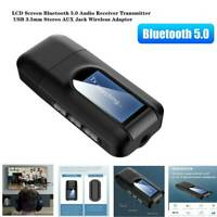 2in1 Bluetooth5.0 Transmitter Receiver LCD Wireless Audio 3.5mm USB Aux Adapter