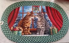"OVAL BRAIDED KITCHEN RUG RED (20"" x 30"") CHRISTMAS, WINTER, 2 KISSING CATS"