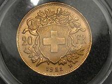 BU/UNC 1922-B Swiss GOLD 20 FRANC Switzerland Helvetia AGW .1867 troy oz.  #40