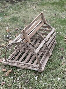 Vintage circa 1960 New England Lobster Trap All Wood Primitive Working With Tag