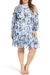 NWT Eliza J Cold Shoulder Leopard Ruffle Dress EJ7W5801 Size 14W Navy Ivory $148