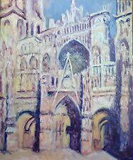 """Huile sur toile """"Cathédrale de Rouen""""  original Christian Coleau"""