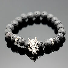 Charm Men's Lava Rock Beaded Dragon Bracelet Lucky Yoga Energy Wrist Bracelet