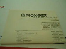 Pioneer Spec Equipment Original Authorized Service Dealers Paperwork