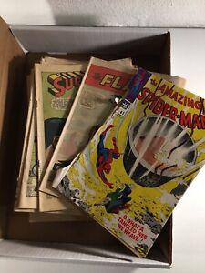 Vintage 28 Comic Silver Age Superman Green Lantern Flash Spiderman Lot Coverless