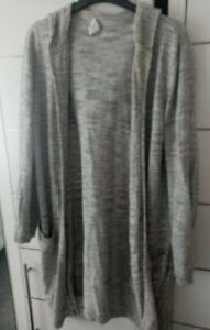 The white company Woman Grey Longsleeve Long Cardigan Hooded Used Size Large...