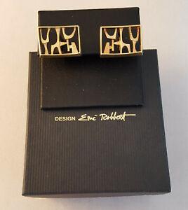 Eric Robbert Sweden 18K Gold Modernist Abstract Cufflinks Original Packaging