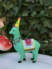 Miniature FAIRY GARDEN ~ Mini Green Party Hat Llama Figurine ~ NEW