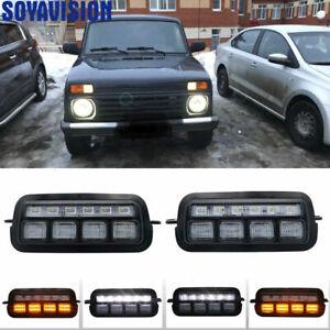 1 Pair For Lada Niva 4x4 Urban 1995 + with Running Turn Signal Light Lamp DRL