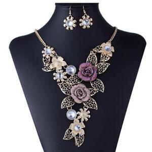 Women Elegant Vintage Flower Gold Necklace Statement Earrings Jewelry Set