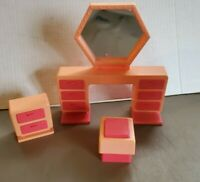 VINTAGE  Mattel - Barbie Dream House VANITY DRESSER MIRROR & CHAIR & DRESSER