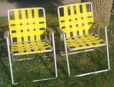2 Matching RETRO YELLOW VINTAGE ALUMINUM LAWN BEACH CHAIR RETRO FOLDING WEBBED