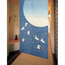 Japanese NOREN Curtain Rabbit Month Blue KAWAII