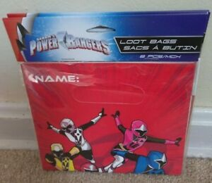 Power Rangers Loot Bags ~ 8 count, Birthday Party favors ~ NEW!