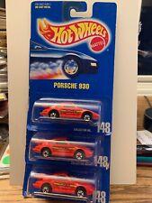 3x 1991 HOT WHEELS PORSCHE 930 BLUE CARD # 148