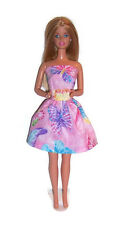 Glittery Pink Butterfly Strapless Party Dress for Barbie Dolls