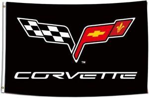 3x5FT Corvette Chevrolet Racing Flag Black Dad Fathers Day Garage Decor Auto Car