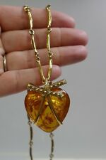 """Beautiful Vermilion Sterling Silver Necklace With Baltic Amber Pendant -22"""" Long"""