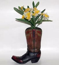 "WESTERN COWBOY Polyresin 9"" Tall x 8"" Long FLAME Design BOOT SHOE FLOWER VASE"