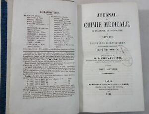 Journal de Chimie Médicale, de Pharmacie... 1864 tome X Asselin RARE CHEVALLIER