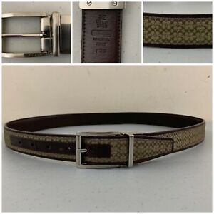 "COACH Mens # 3798 Leather Belt Reversible SIgnature Logo Brown 36"" 90cm ITALY"