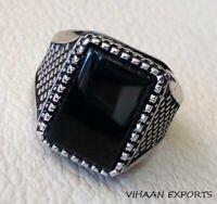 925 Sterling Silver Natural Emerald Cut Black Onyx Gemstone Handmade Men Ring