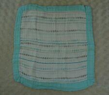 Aden + Anais Bamboo Baby Lovey Security Blanket Aqua Blue White Gray Polka Dot