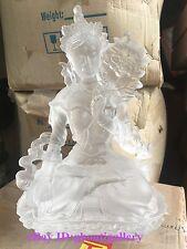 22cm Tall White Tara Buddha Sculpture Art Glass Casting Pate De Verre Statue