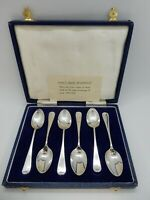 BOXED Set 6 SOLID Silver PICTURE BACK Teaspoons, Sheffield 1964-6