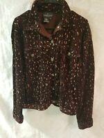Carol Little  womens jacket M jean style cotton/poly velvet feel animal print