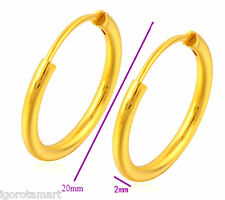 New Pair Men Women 24k Gold PLated Hoop Dangle Earrings 20mm Round Ear Peircing