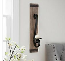 Wood Plank with Metal Accent Wall Sconce. ELEGANT LOOK HOME DECOR