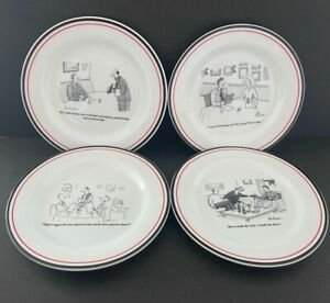 """Restoration Hardware The New Yorker 8"""" Cheese Plates with Wine Cartoons Set of 4"""