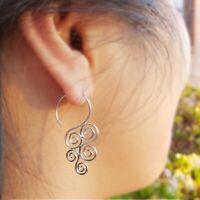 Modern Minimalist Sterling Silver .925 Spiral Swirl Hook Earrings - Gift Woman