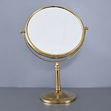 Gold Brass Desk Type Double Sided Cosmetic Mirror Makeup Lady's Mirror