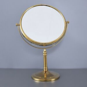 Gold Brass Desk Type Double Sided Cosmetic Mirror Makeup Lady's Mirror tba641