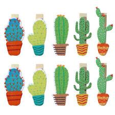 10pcs Cactus Wooden DIY Photo Clip Handmade Cartoon Birthday Party Decor Supply