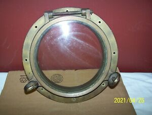 "VINTAGE 14"" BRASS PORTHOLE ~ 2 DOG EAR / KEYS & THICK 9 3/4"" DIAMETER GLASS !"