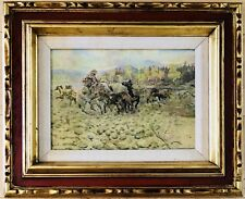 Charles Russell Framed Western Giclee Print On Canvas When Horses Turn Back